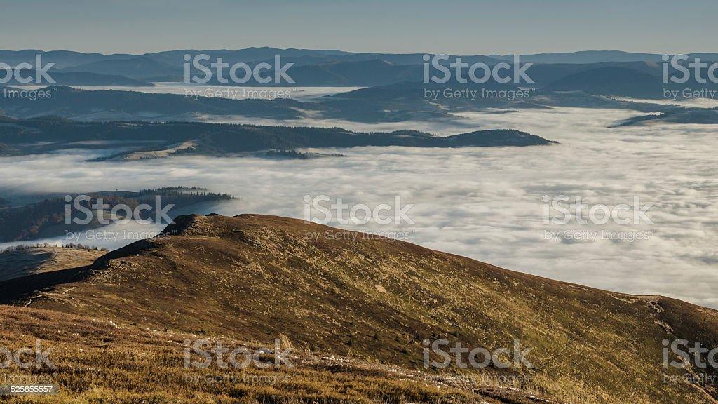 Pied au-dessus des nuages photo libre de droits