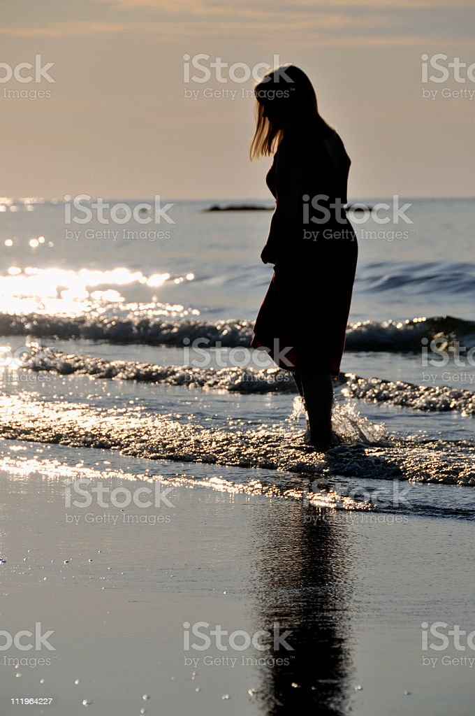 Walking Alone in Morning Beach Surf royalty-free stock photo