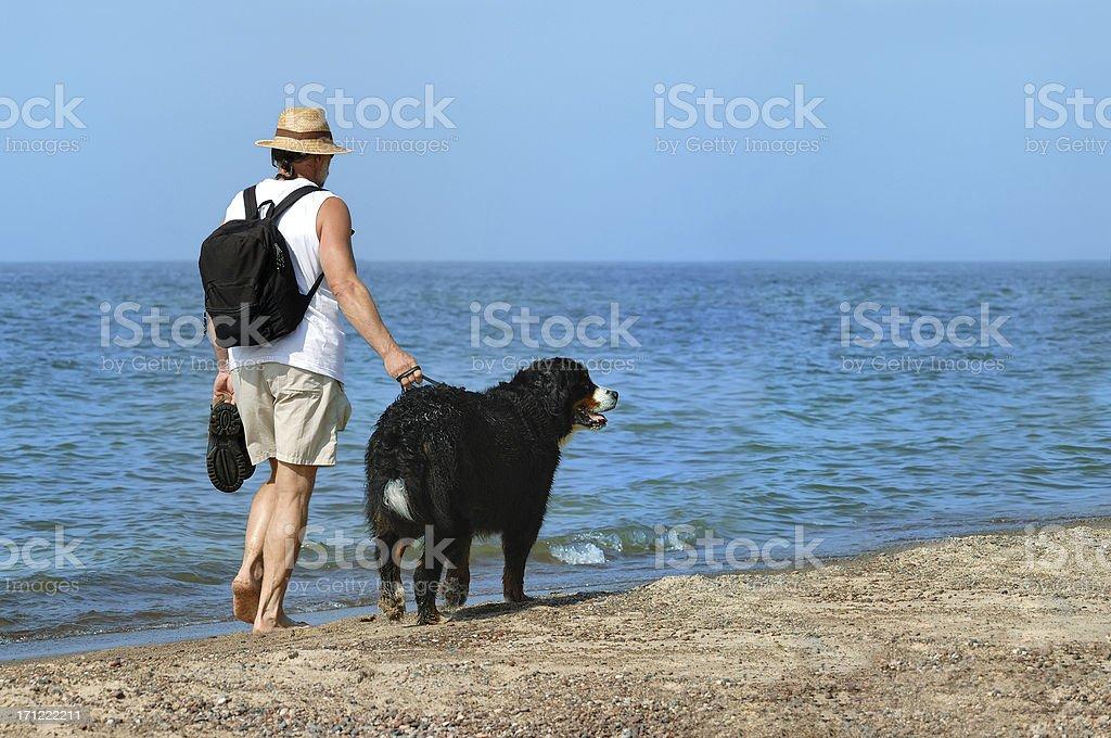 Walking alone on a beach stock photo