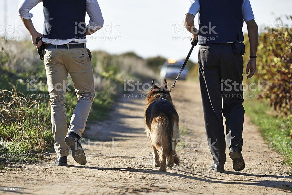 Walking along the crimescene stock photo