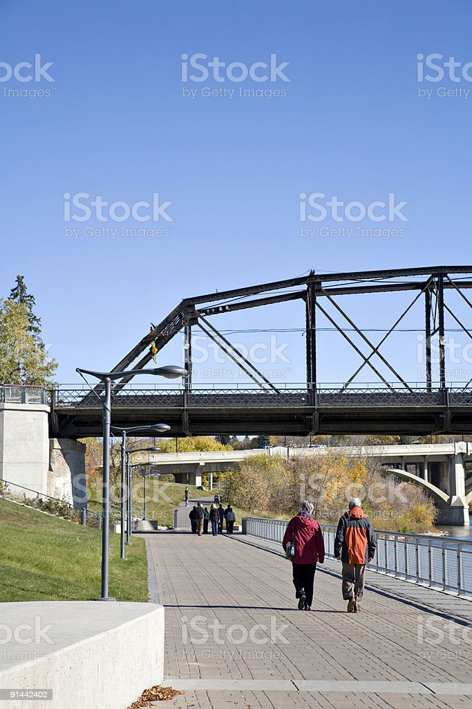 Walking Along The River in Downtown Saskatoon stock photo