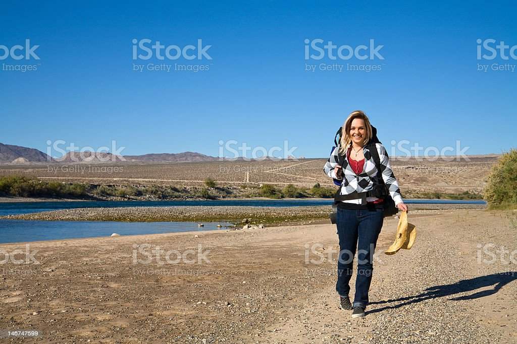 Walking along the River stock photo