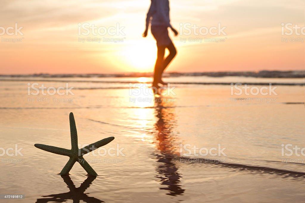 walking along the sea coast stock photo