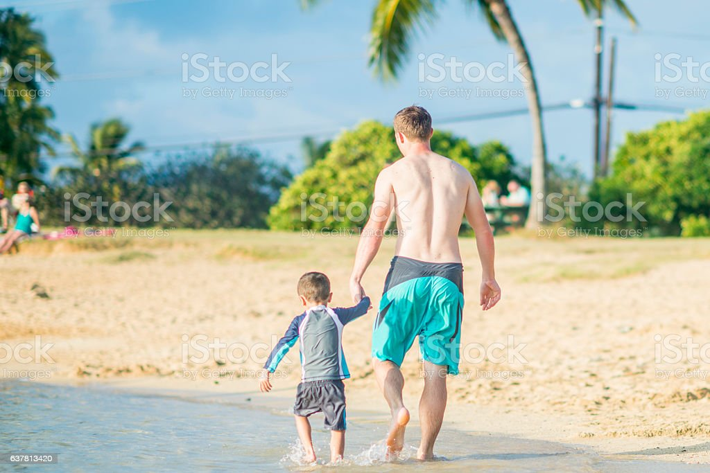Walking Along the Waters Edge stock photo