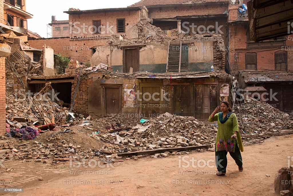 Walking among the ruins after earthquake Nepal. stock photo