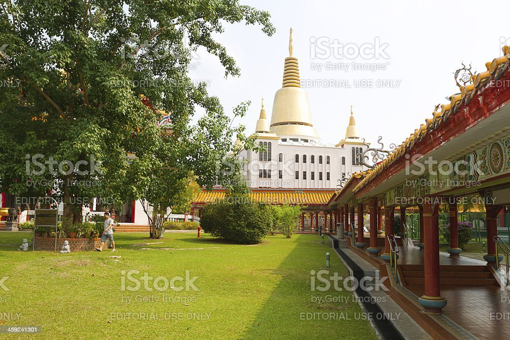Walking around Bodhi tree stock photo