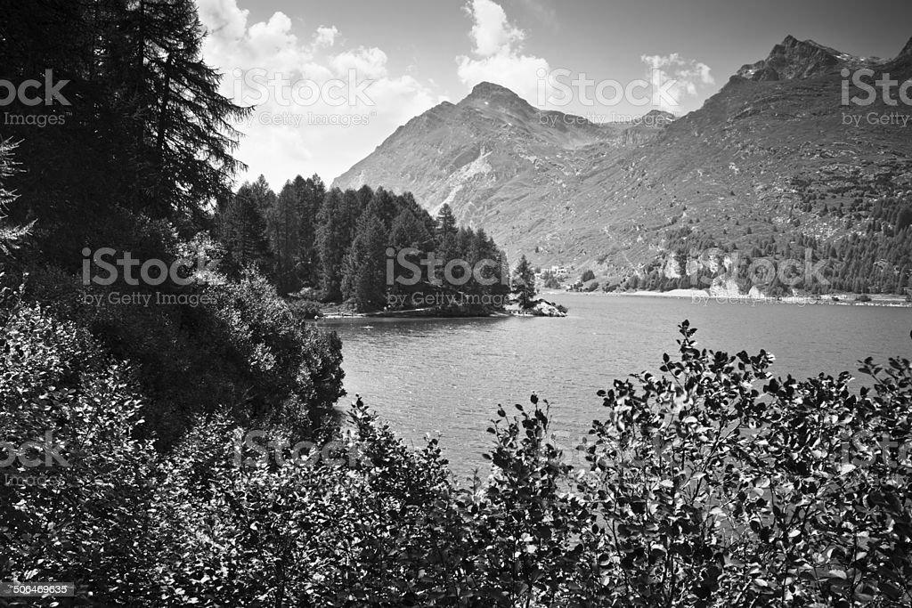 Walking around Sils Lake (Engadin Valley - Switzerland) stock photo