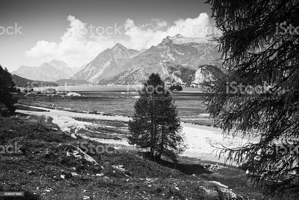 Walking around Sils Lake (Engadin Valley - Switzerland) stock photo