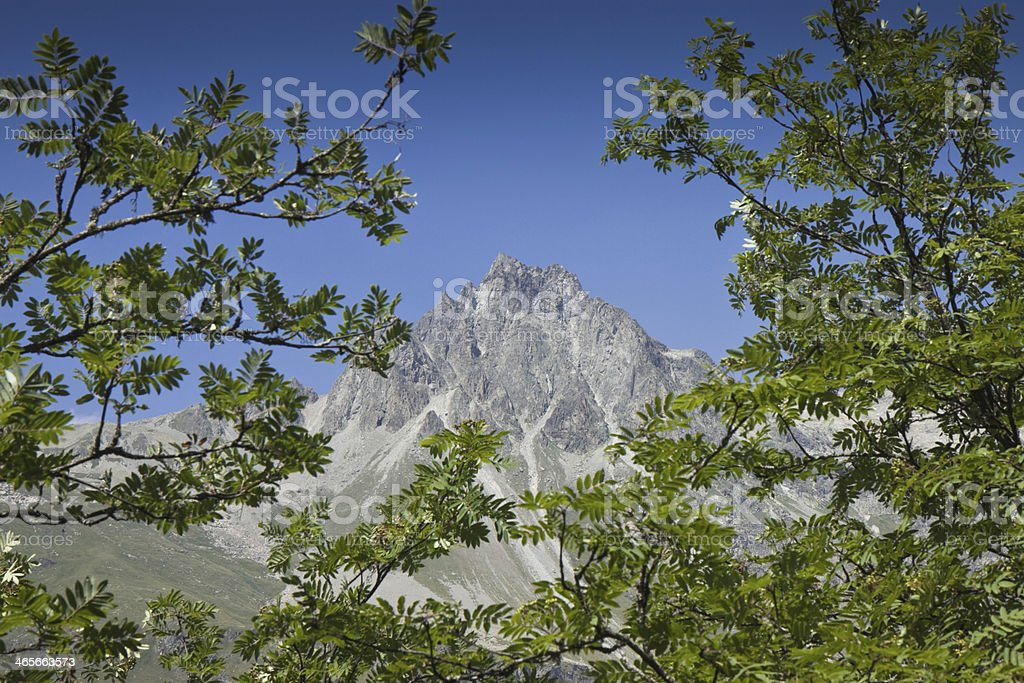 Walking around Sils lake (Switzerland): Piz Lagrev on background stock photo