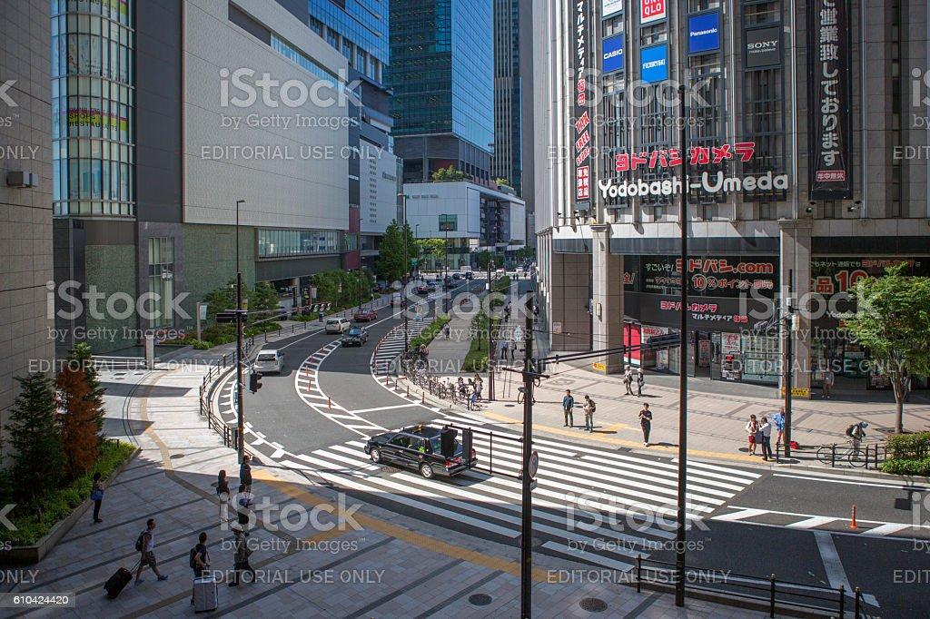 walking around yodobashi-umeda shopping district street in osaka japan stock photo