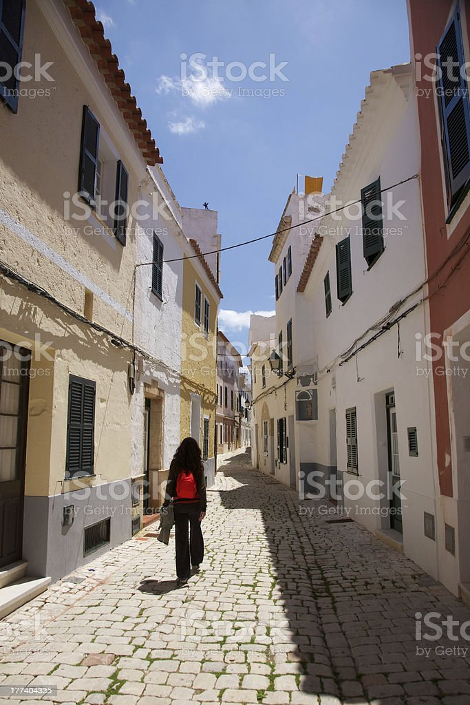 walking at Ciutadella street stock photo