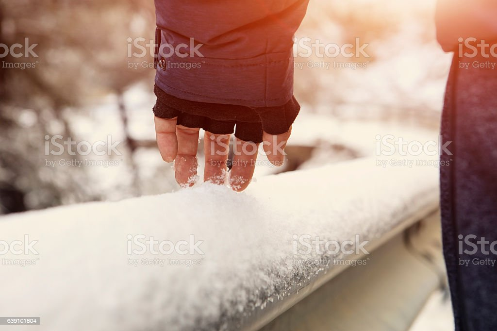 Walking At Snowy Day stock photo