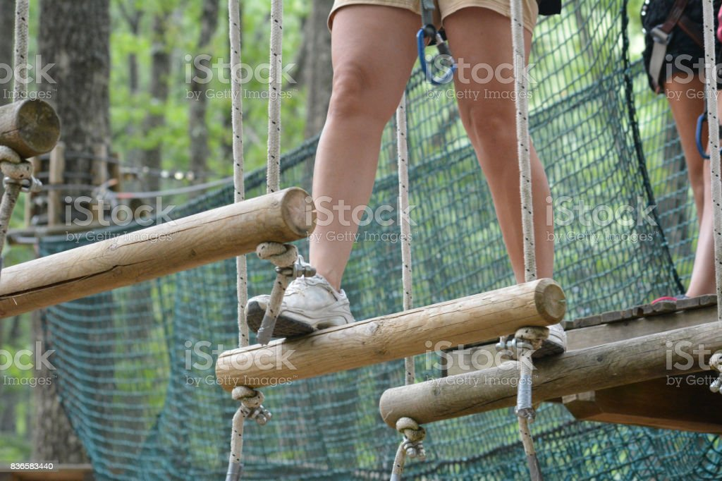 walking at the adventure park stock photo