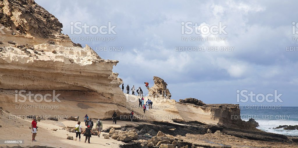 walking at west coast of Fuerteventura, Jandia stock photo