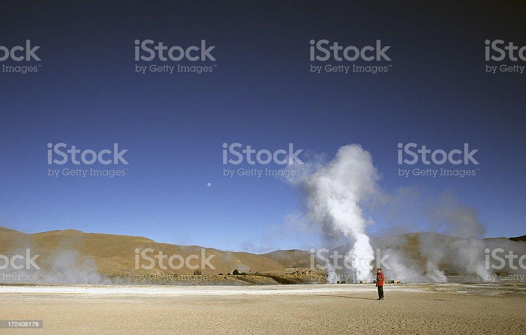 Walking between the geysers of El Tatio stock photo