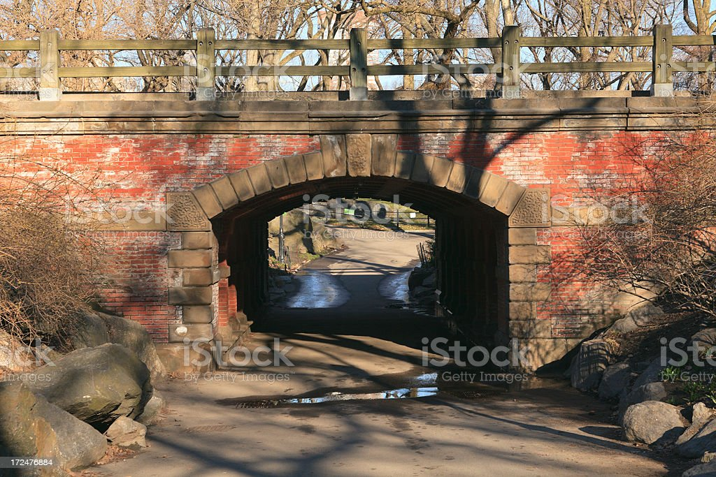 Walking Bridge in Central Park stock photo