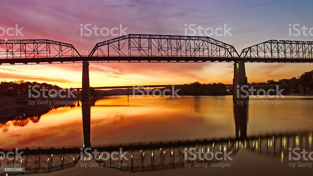 Walking Bridge Over Chattanooga River At Sunrise stock photo