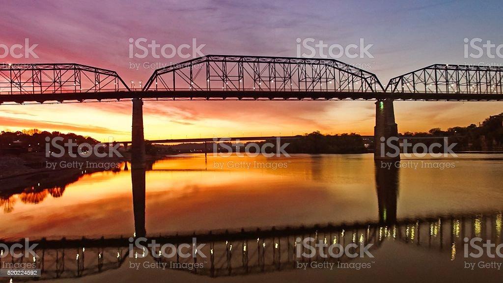 Walking Bridge Over Chattanooga River At Sunrise stock photo