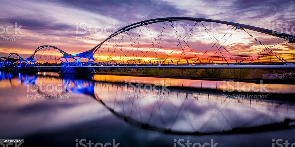 Walking Bridge Sunset stock photo