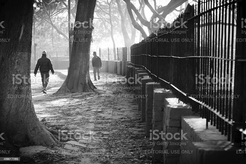 walking by fence royalty-free stock photo