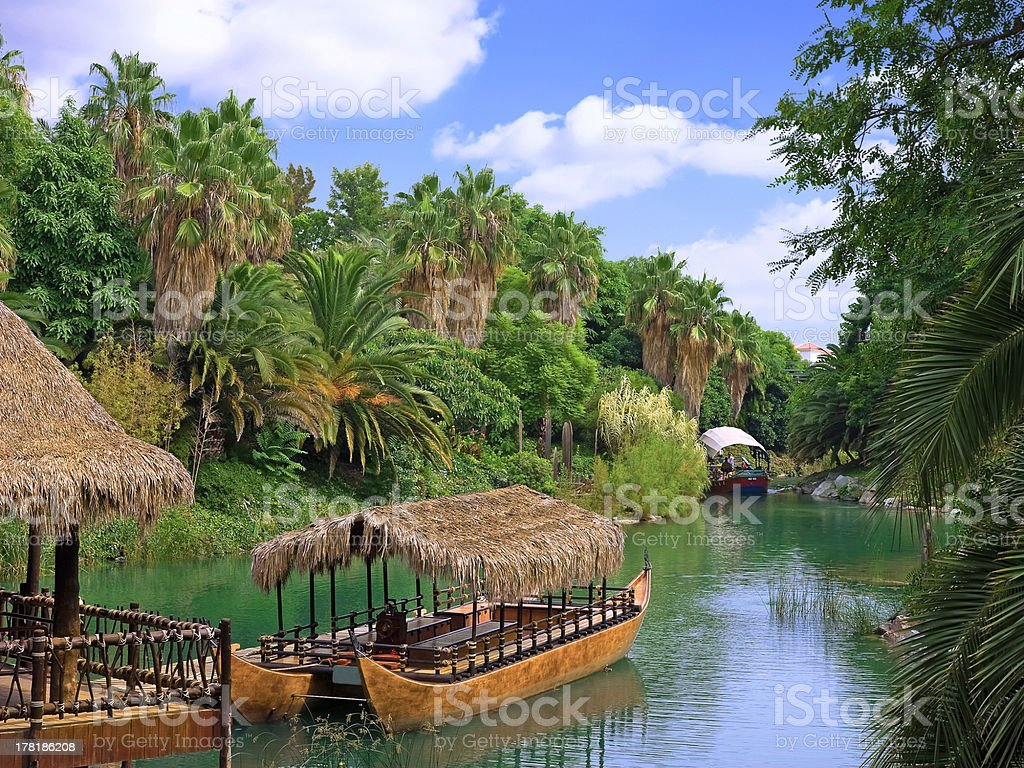 Walking canoe on river in French Polynesia. royalty-free stock photo