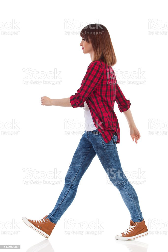 Walking Casual Girl Side View stock photo
