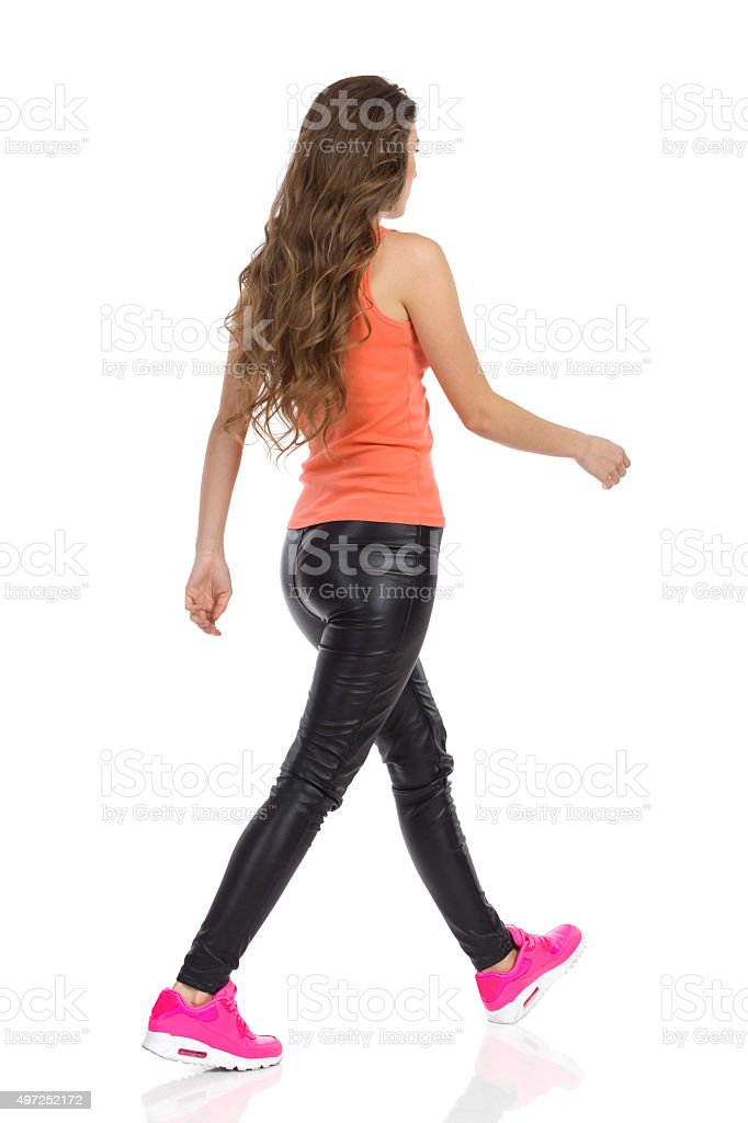 Walking Casual Woman stock photo