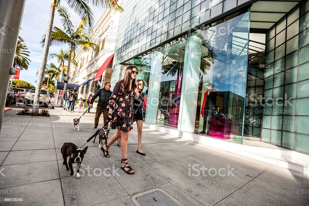 Walking dogs on Rodeo Drive, Beverly Hills, USA stock photo