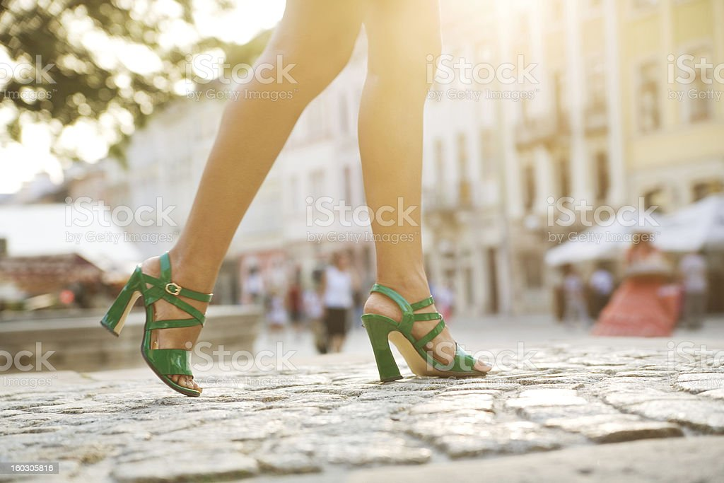 Walking down a cobblestone street royalty-free stock photo
