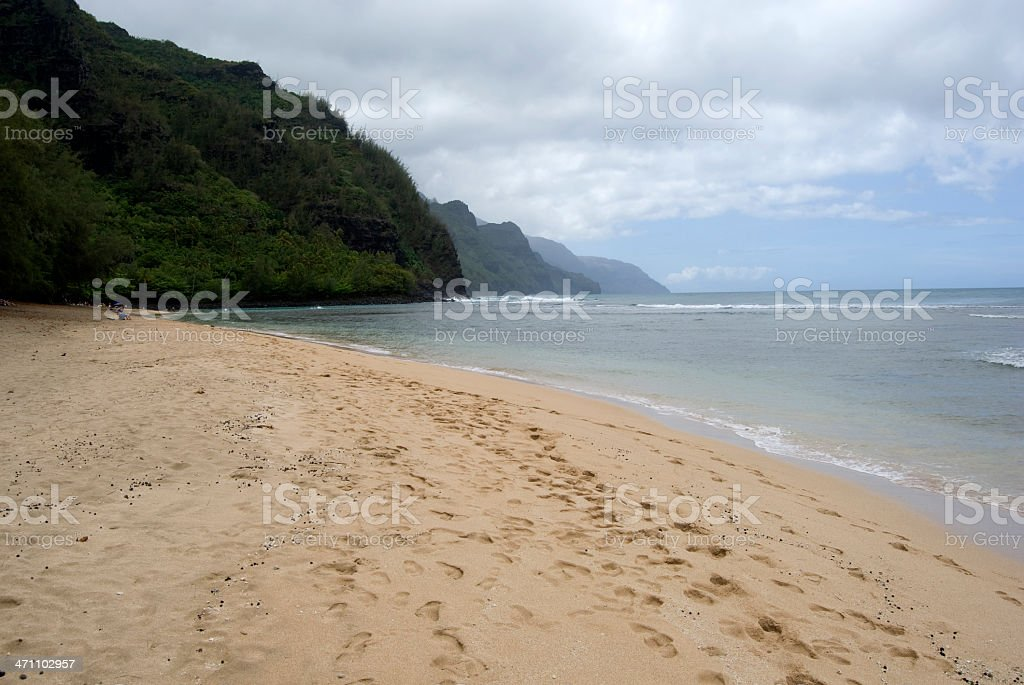 Walking Down Beach, North Shore, Kauai stock photo