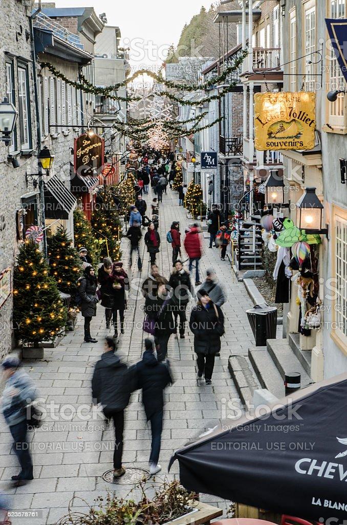 Walking down the Petit Champlain Street stock photo