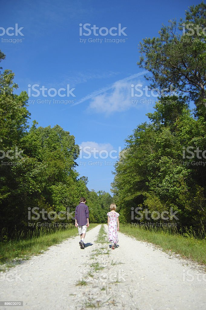 Walking down the road royalty-free stock photo