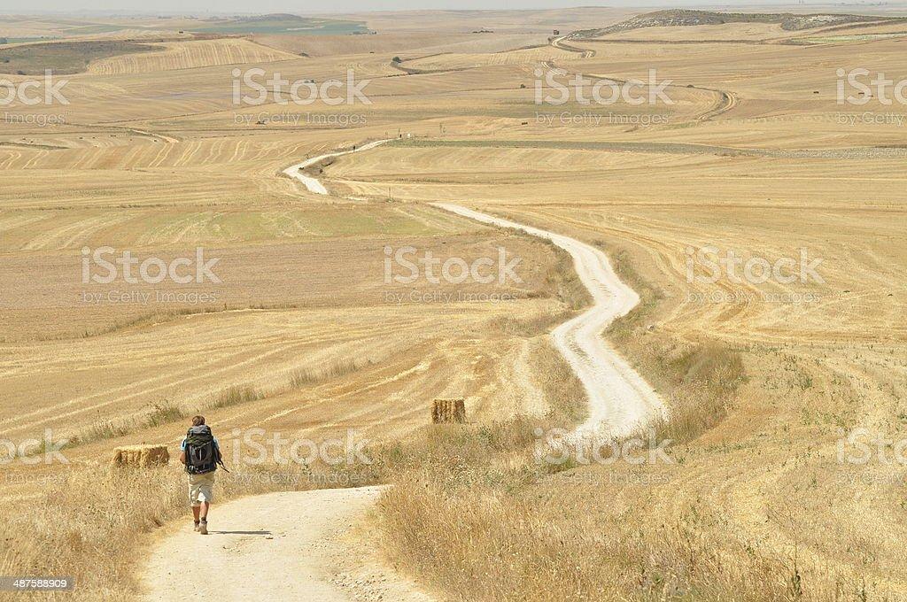 Walking during pilgrimage Cammino de Santiago de Compostela stock photo