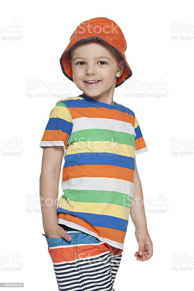 Walking fashion little boy royalty-free stock photo