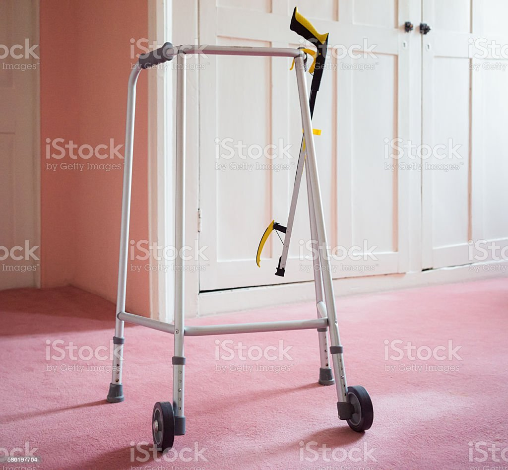 Walking frame and reacher assistance tool stock photo