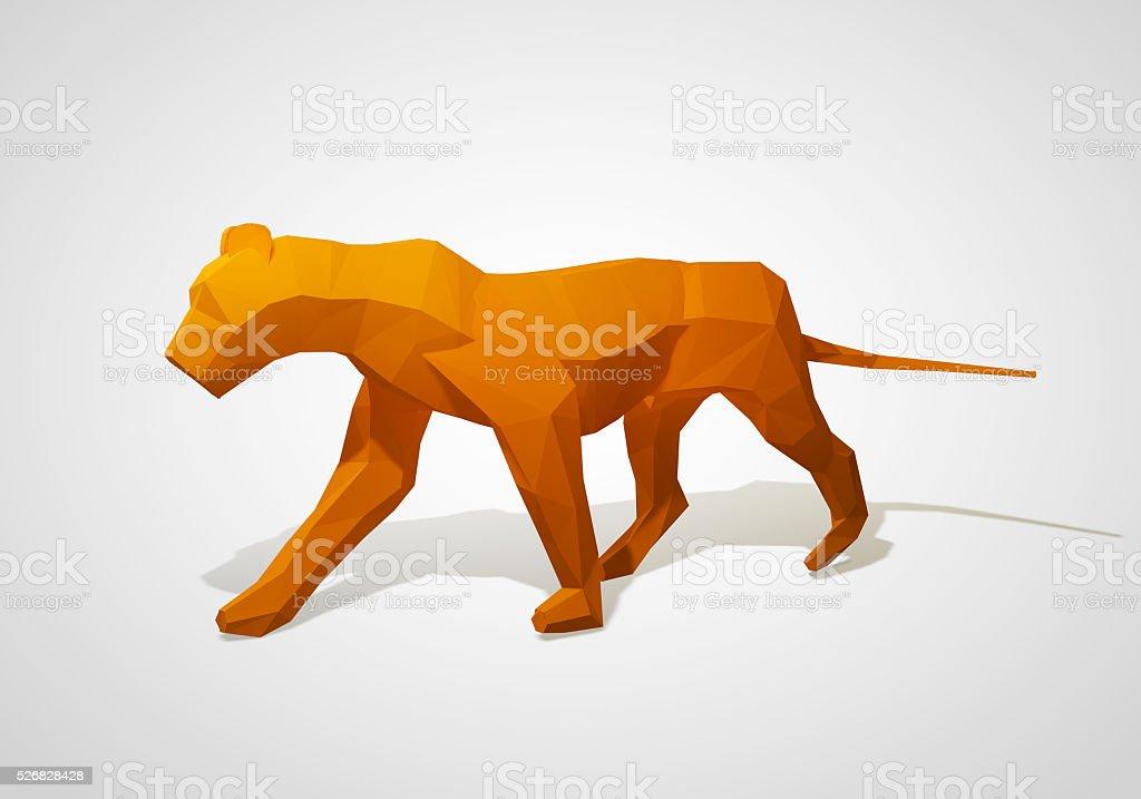 Walking geometric style origami lion. stock photo