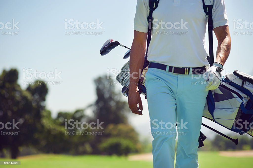 walking golf course stock photo