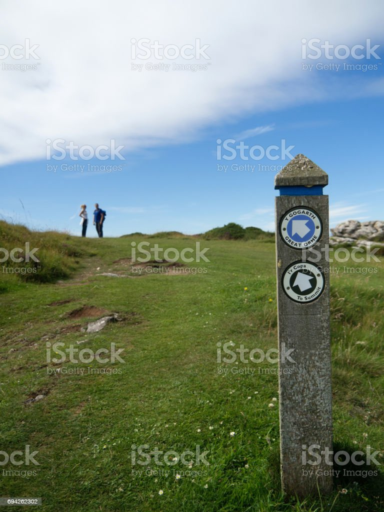 Walking Great Orme in Wales UK stock photo