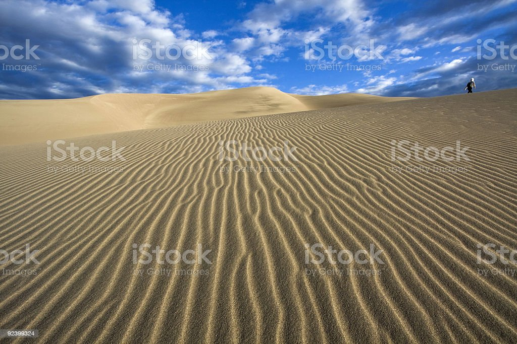 Walking Great Sand Dunes National Park royalty-free stock photo
