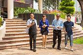 Walking Group of Business Start Up Entrepreneurs Meeting Outdoors