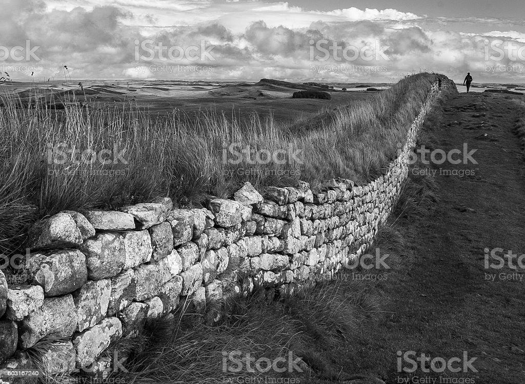 Walking Hadrian's Wall in Northumberland UK stock photo