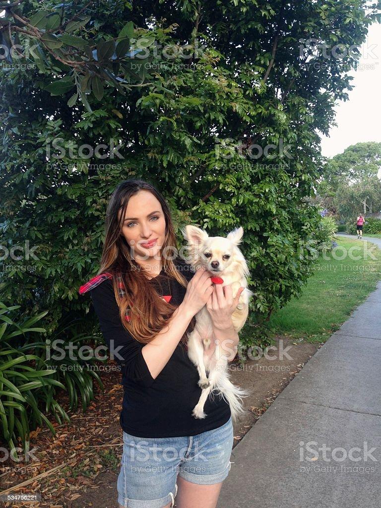 walking her dog stock photo
