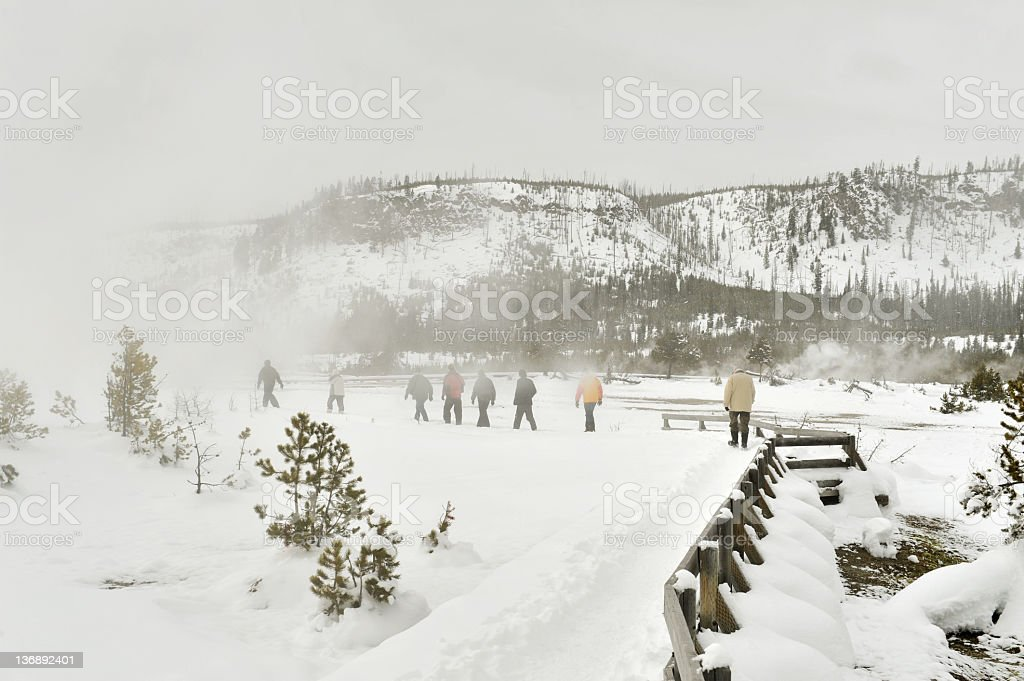 Walking in a thermal area stock photo