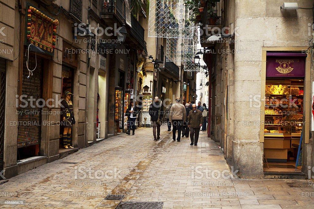 Walking in Barri Gótic stock photo