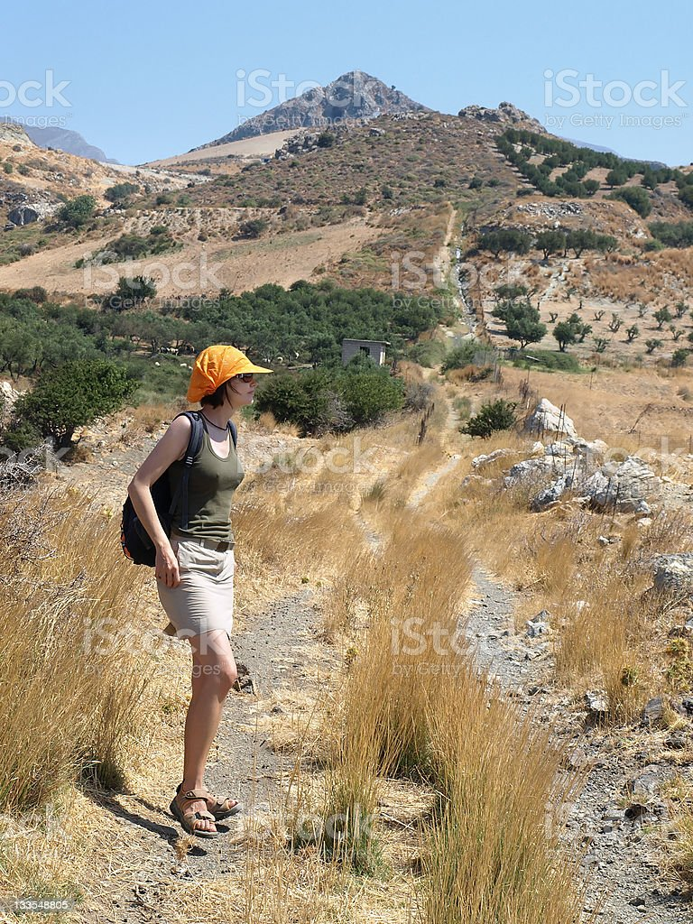 Walking in Crete stock photo