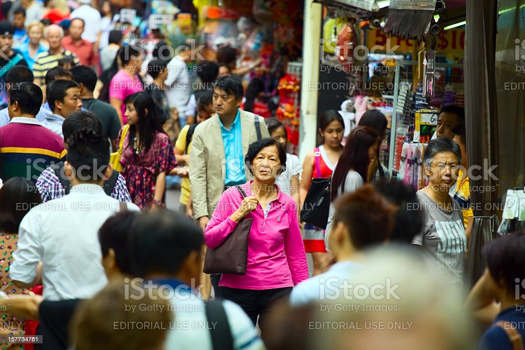 Walking in crowd of Chinatown royalty-free stock photo