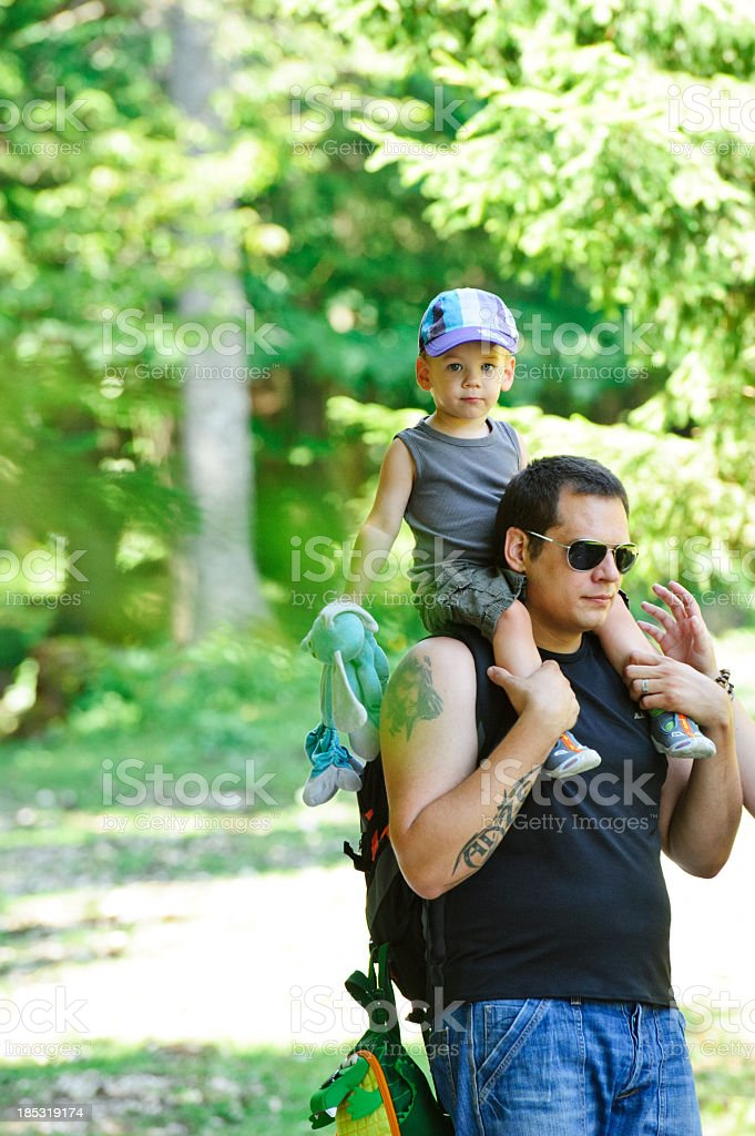 Walking in forest royalty-free stock photo