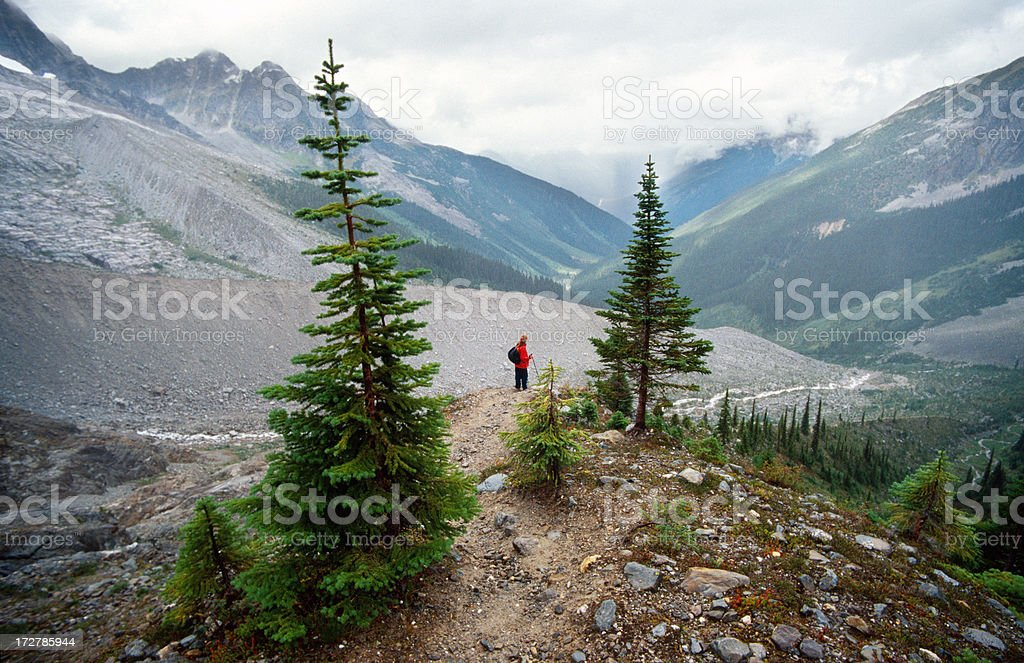 Walking in Glacier National Park stock photo