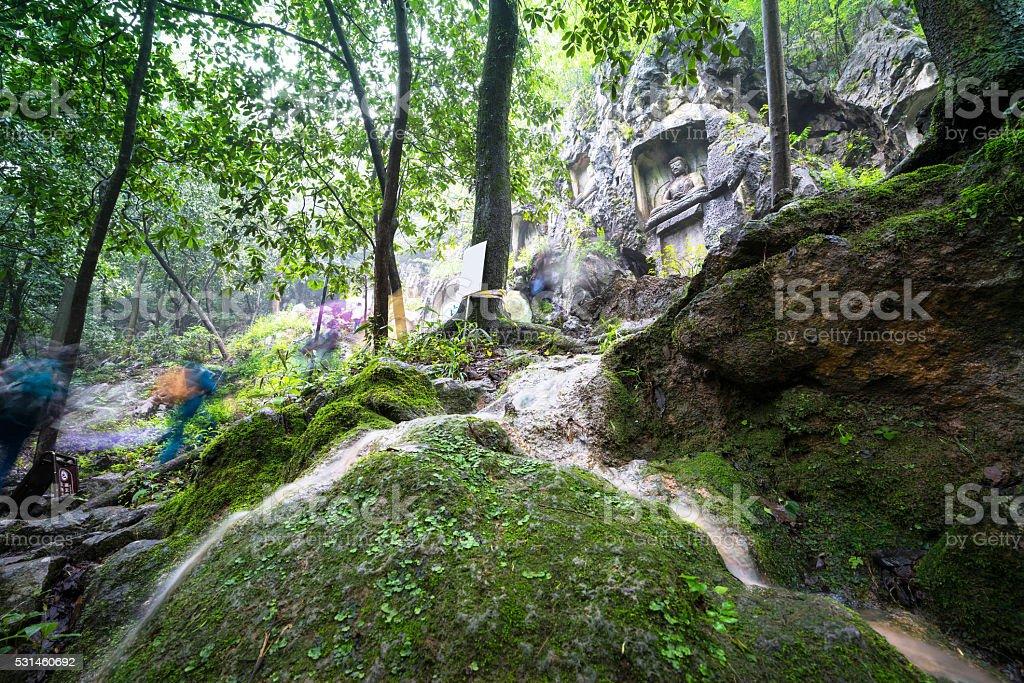 Walking in Lingyin Temple stock photo
