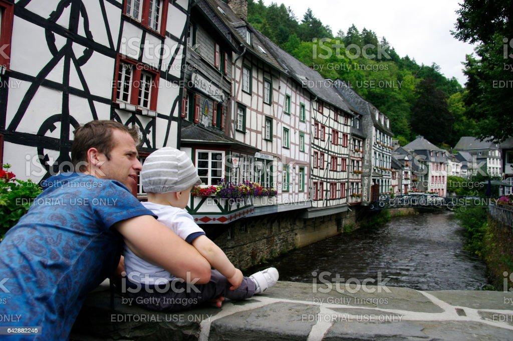 Walking in Monschau stock photo
